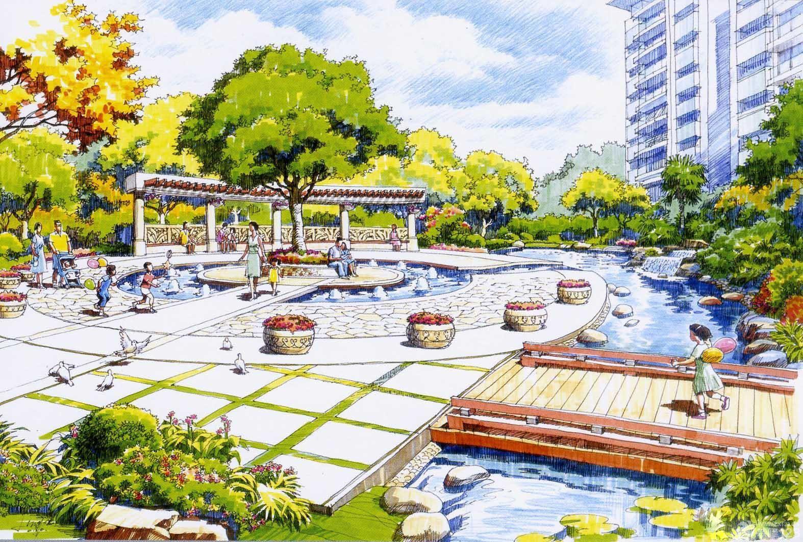 广场喷泉周围景观手绘效果图