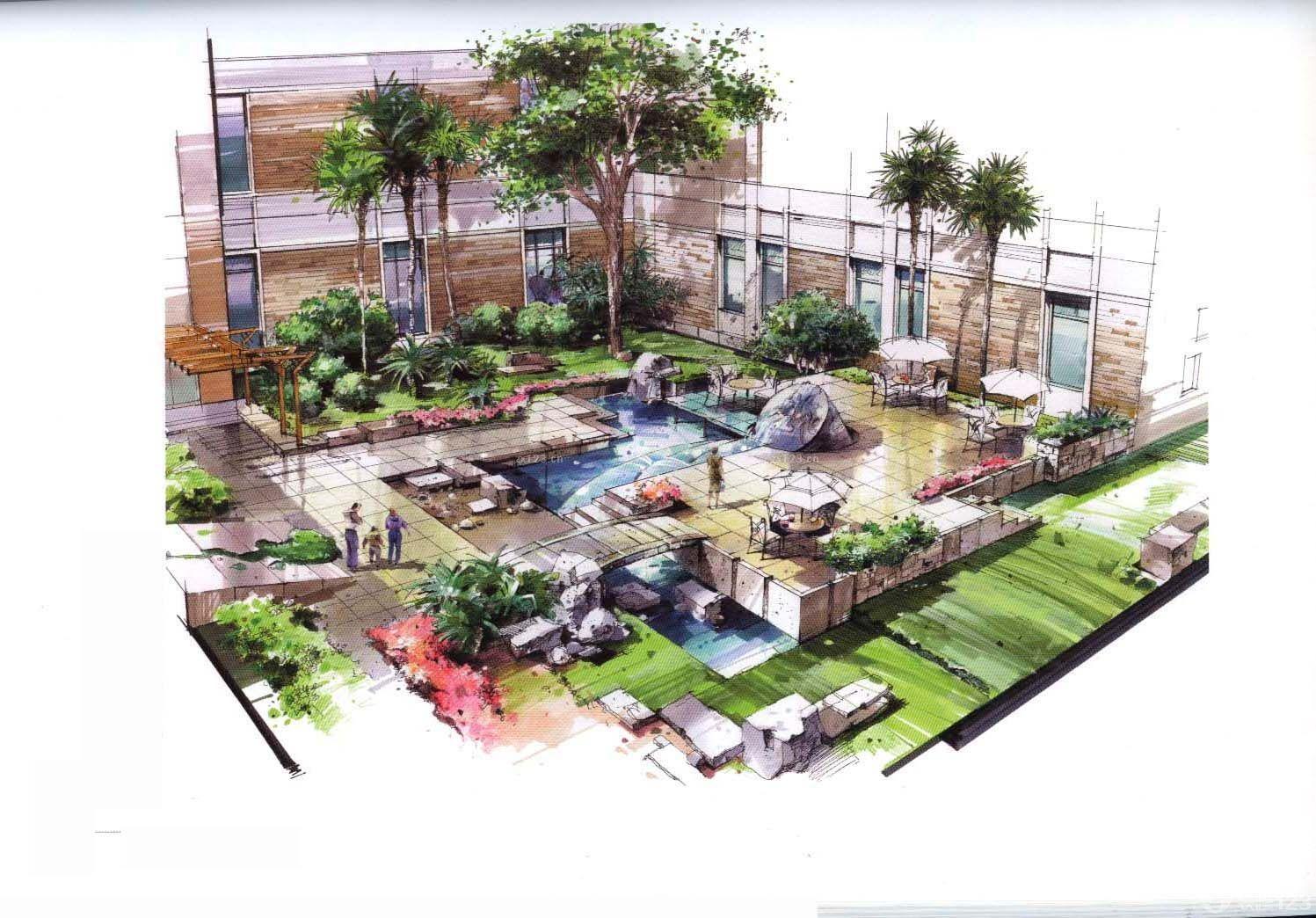 庭院绿化景观手绘效果图