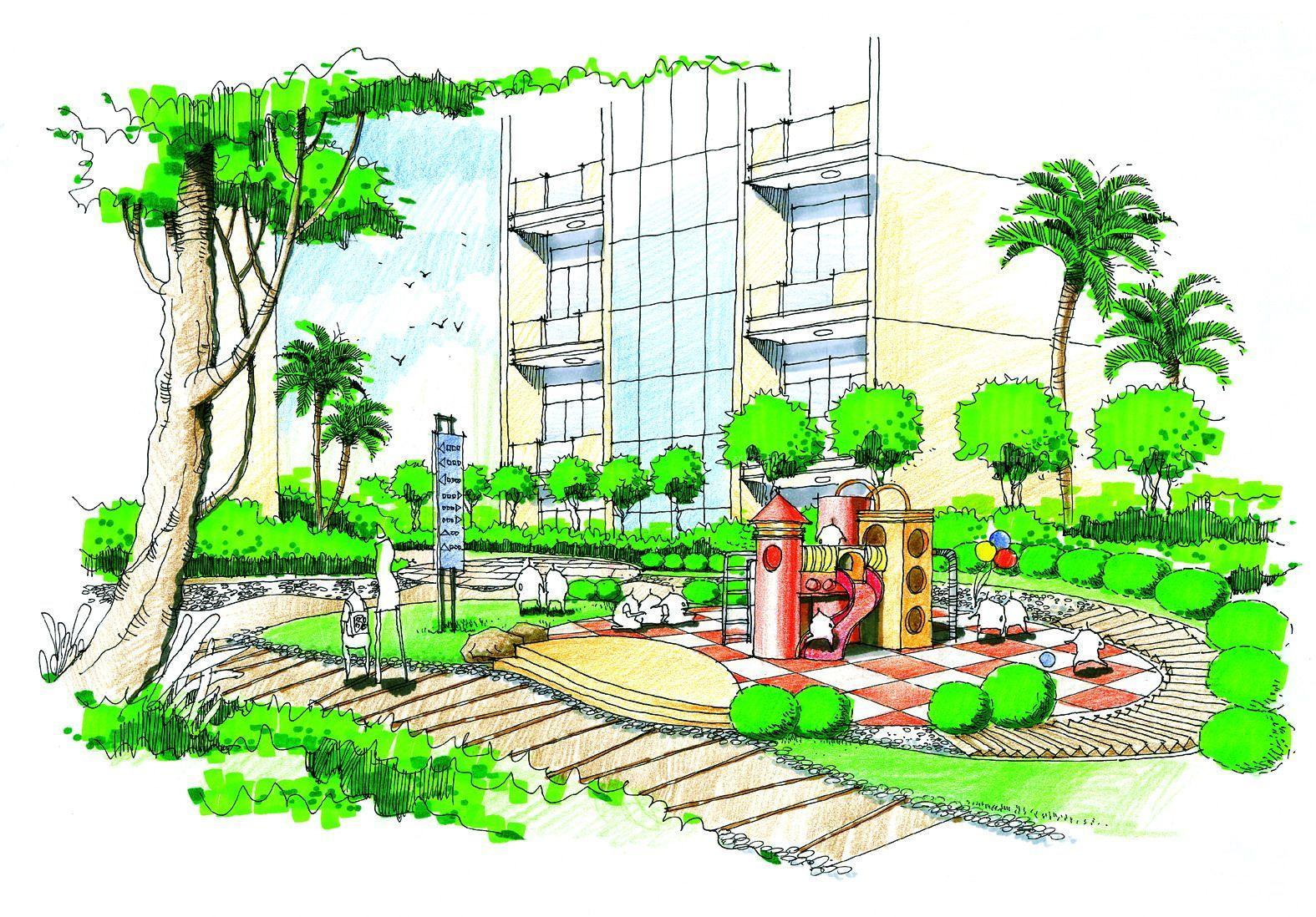 多层住宅区绿化景观手绘效果图