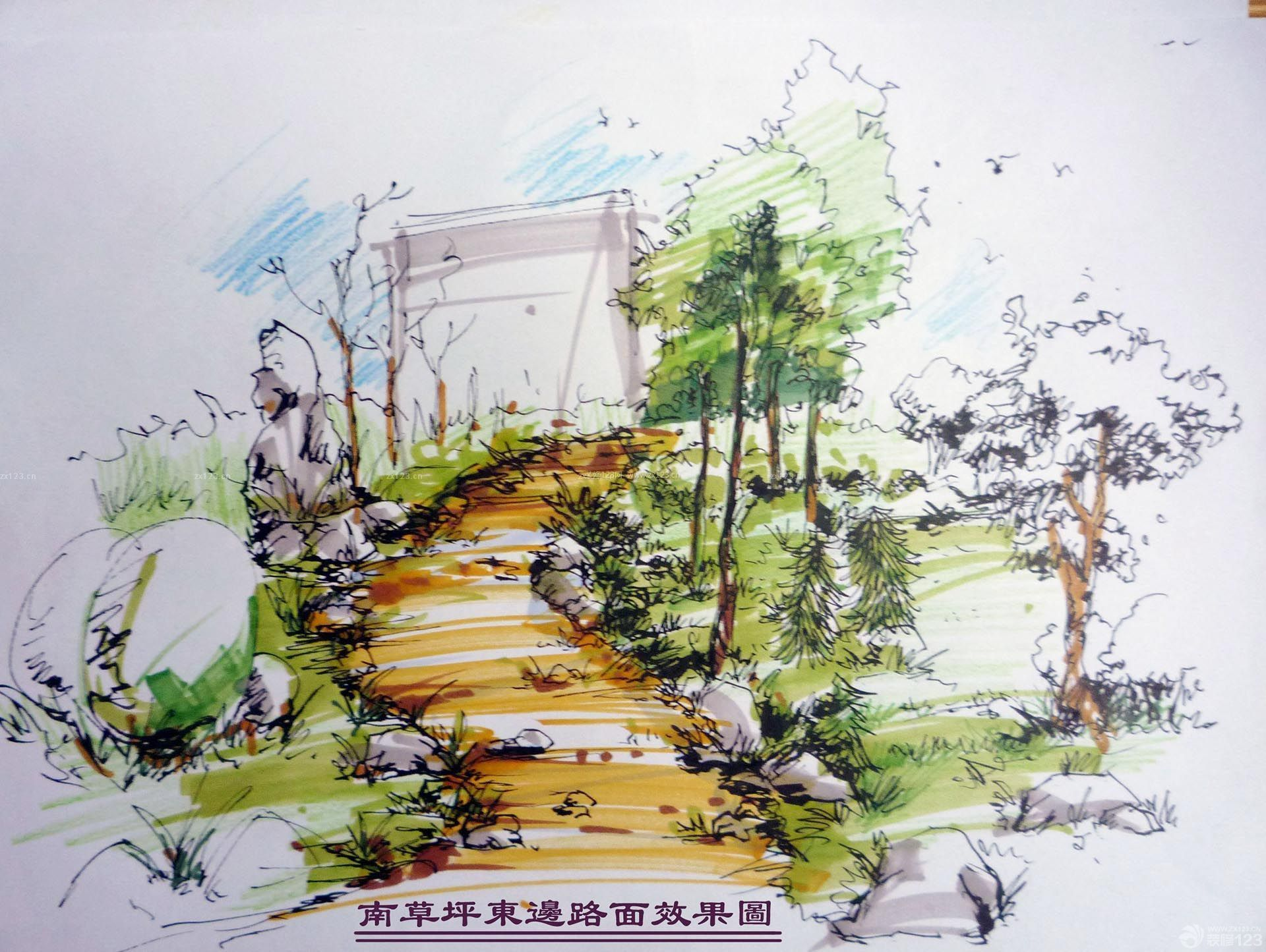 南草坪路面景观手绘效果图