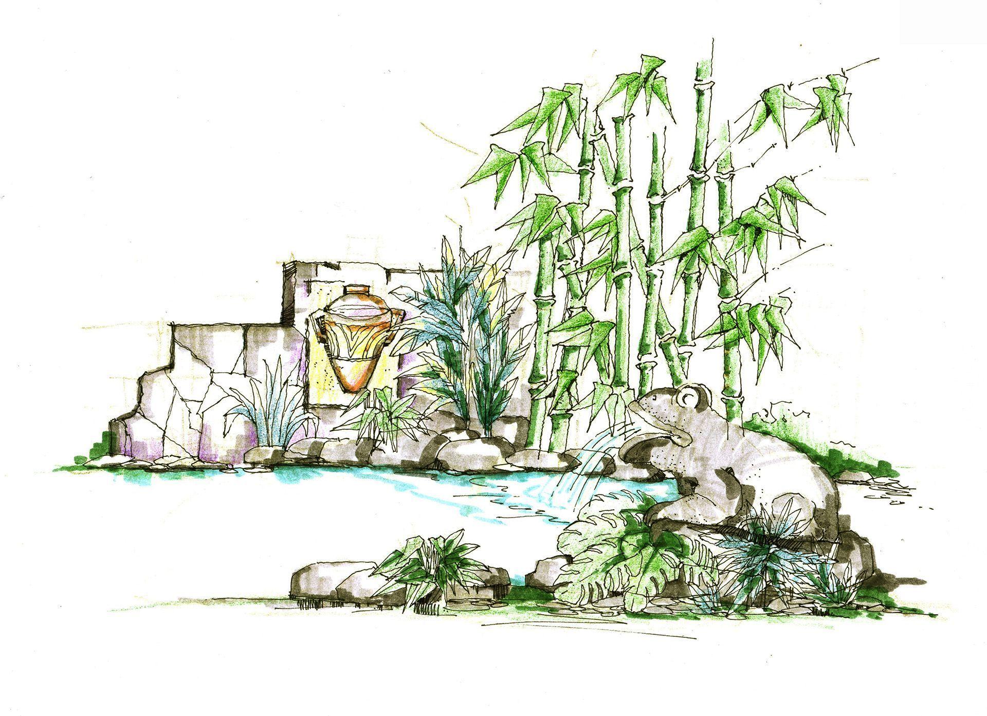庭院假山喷泉景观手绘设计效果图