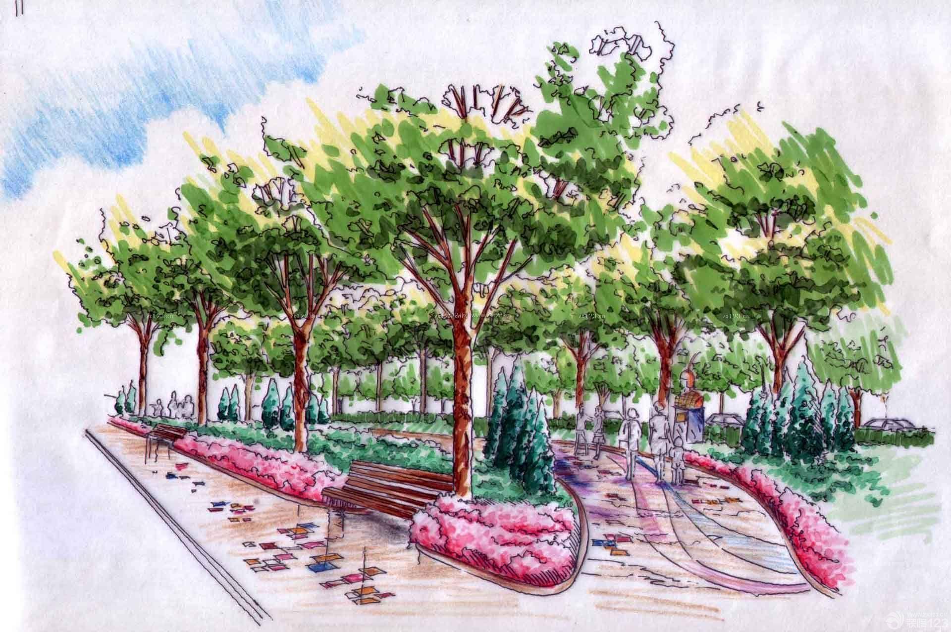 景区绿化景观手绘效果图
