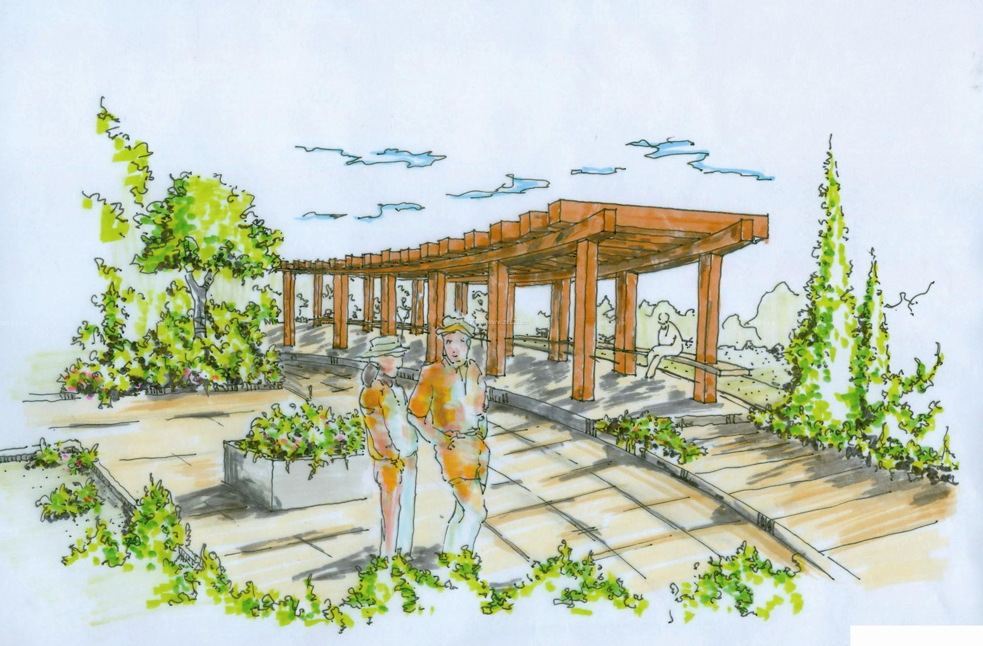 最新庭院绿化景观手绘效果图