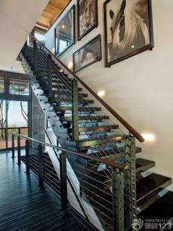 現代高檔別墅鐵藝樓梯扶手設計效果圖片
