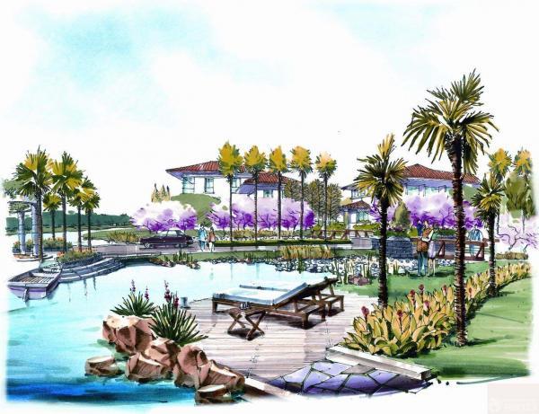 多层住宅区绿化景观手绘效果图 装修123效果图