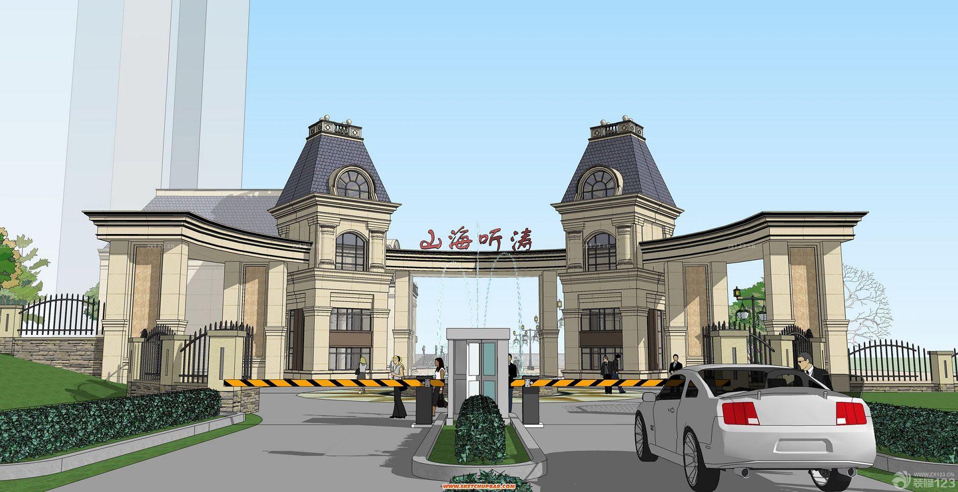 欧式建筑小区大门效果图