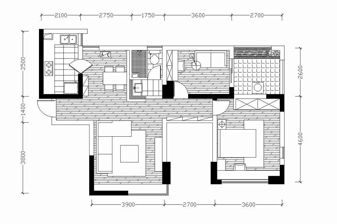 两室一厅一厨一卫80平米小户型平面图