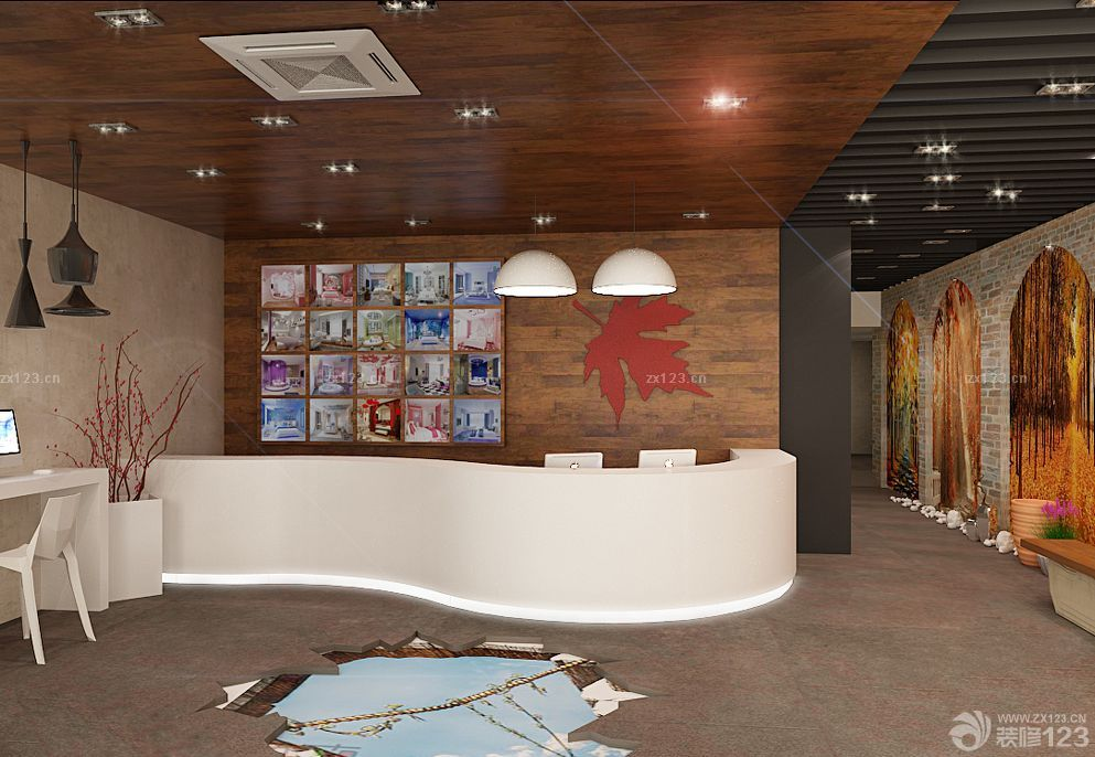 咖啡店收银台木质背景墙设计图片