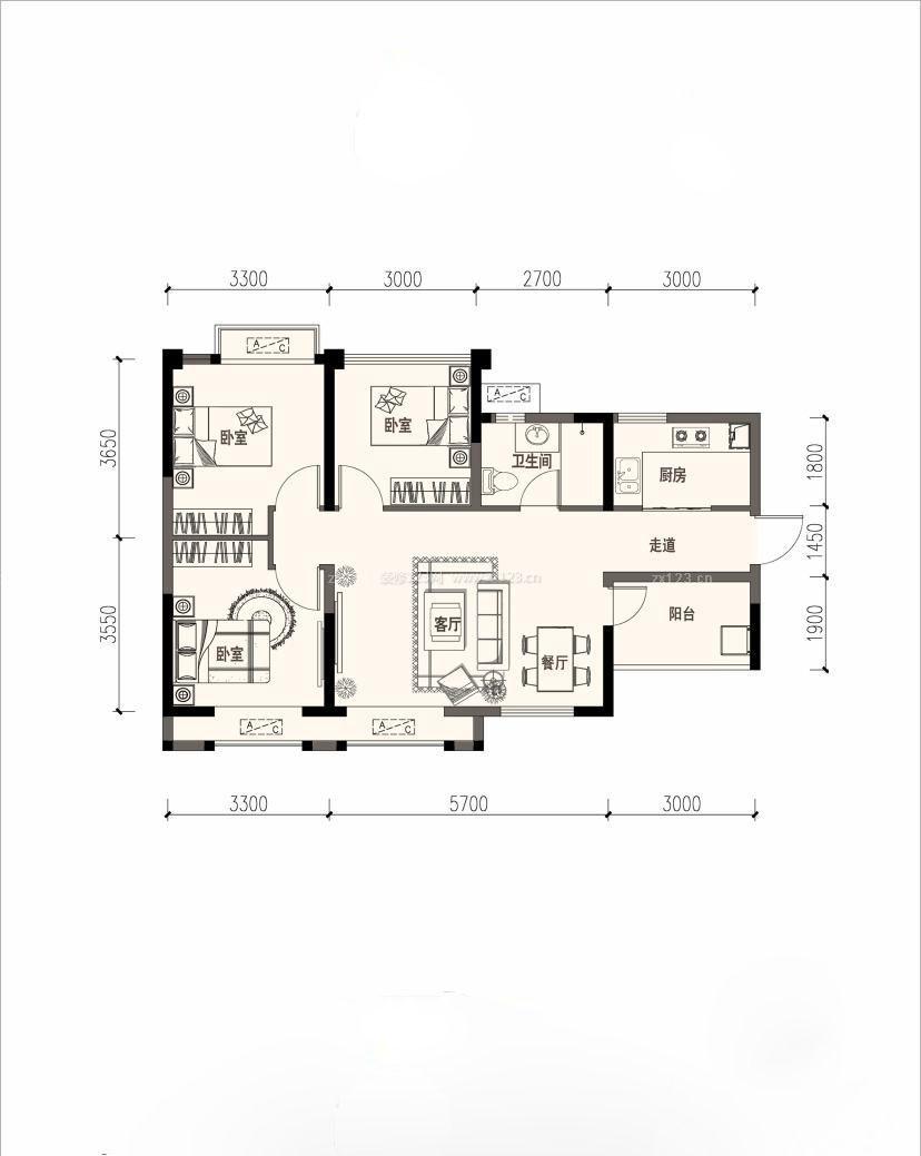 三室一厅一卫80平米小户型平面图设计案例