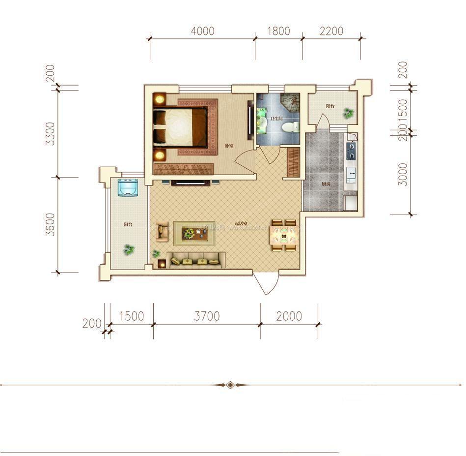 农村房屋设计40平方一室一厅户型图