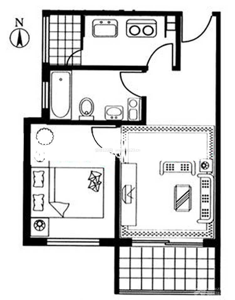 农村自建房40平方一室一厅户型图