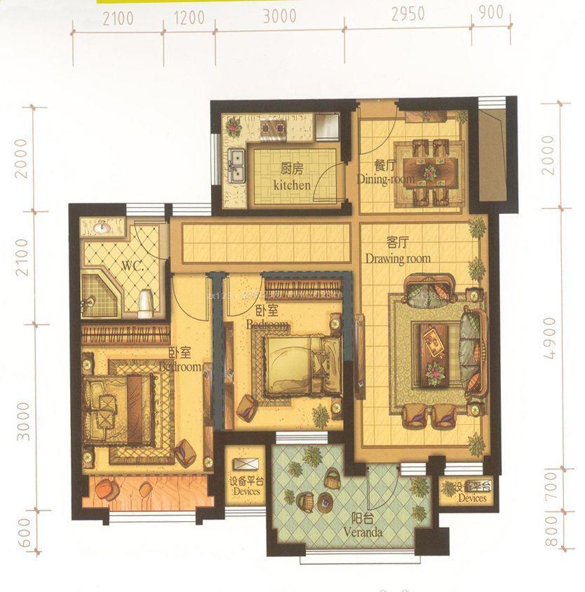 两室一厅一卫80平米小户型平面图设计效果图