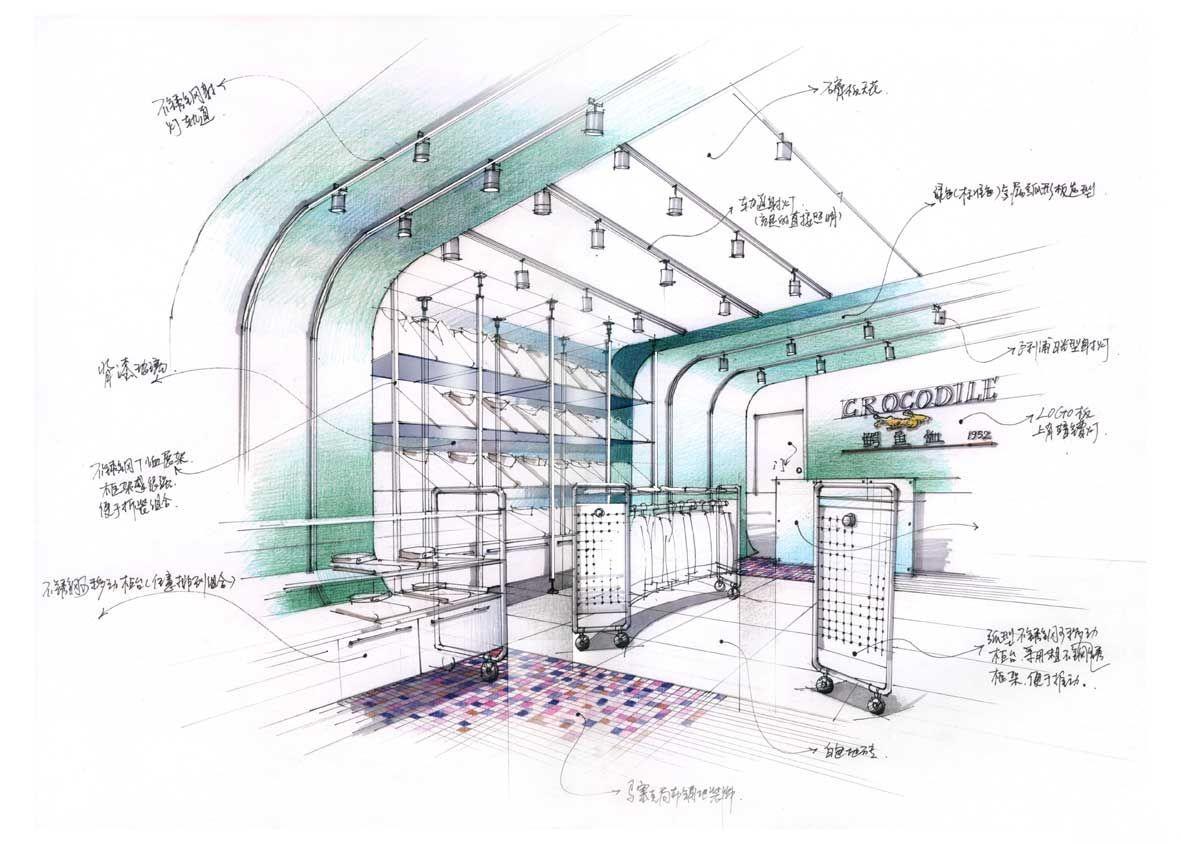 男士服装店铺展厅手绘效果图