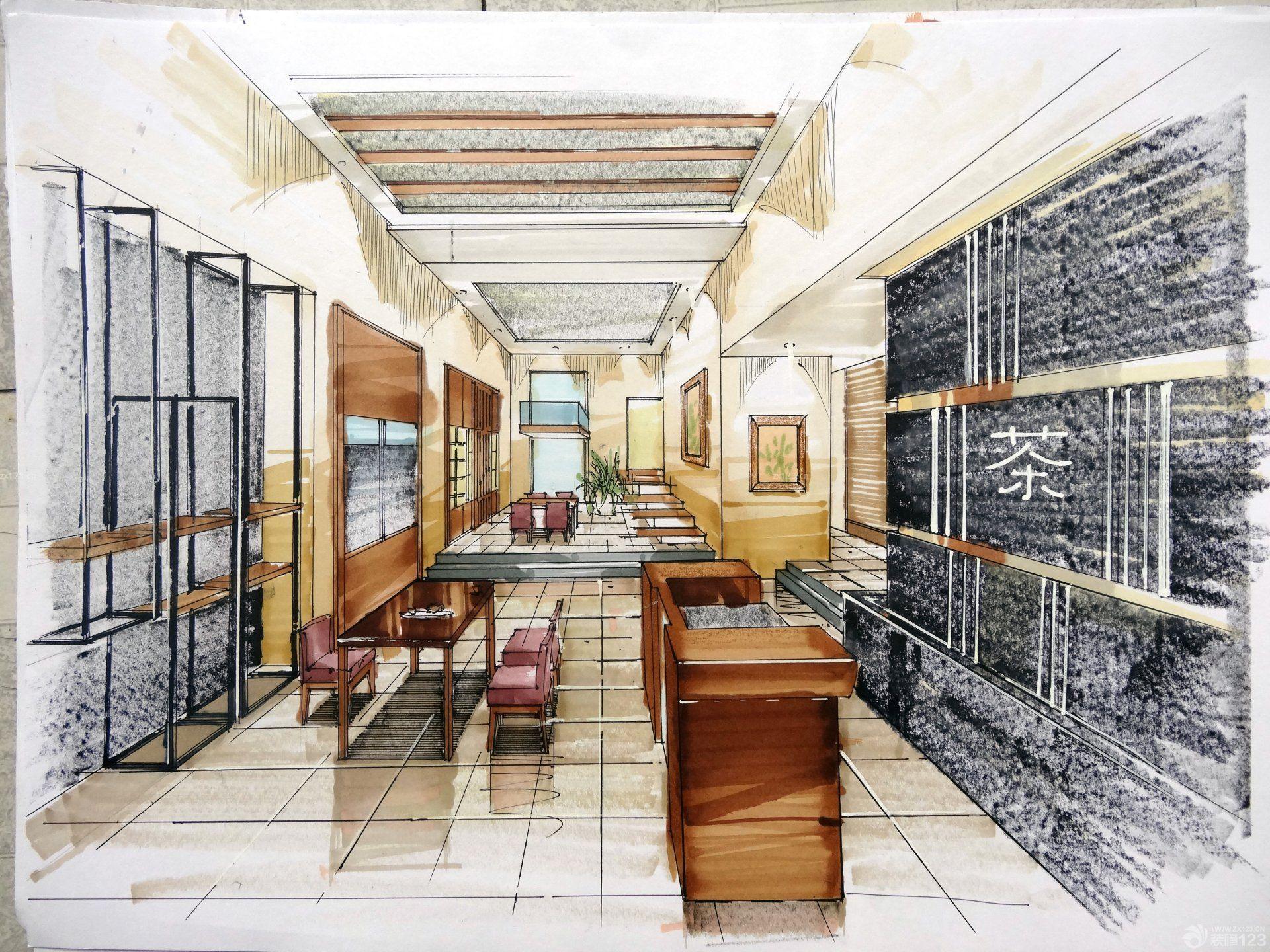 小型茶楼展厅手绘效果图片