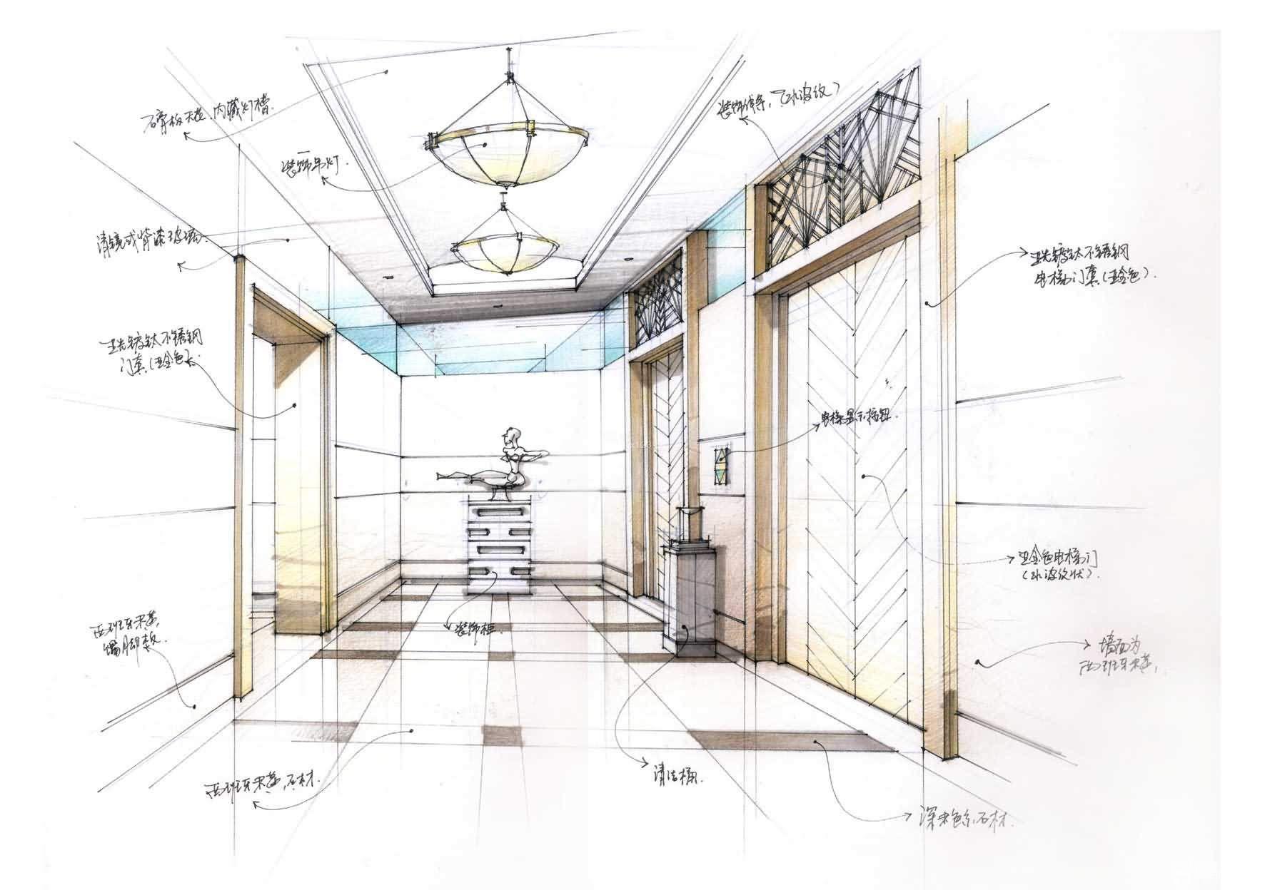 展厅走廊玄关手绘效果图片