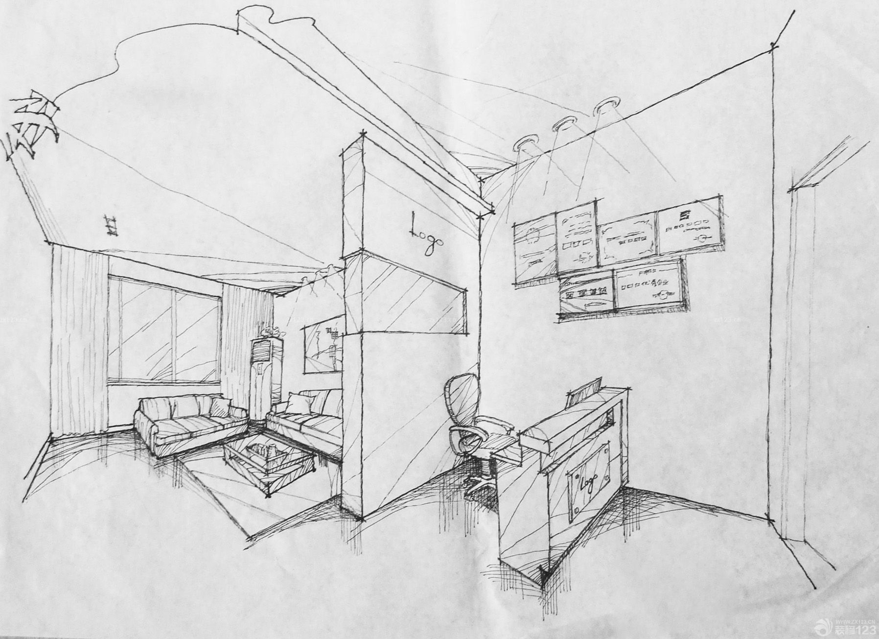 小办公室家具展厅手绘效果图_装修123效果图