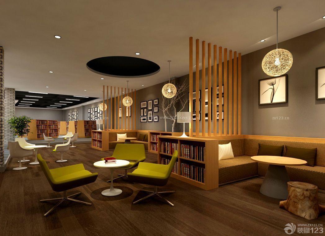 现代混搭风格咖啡店书吧设计效果图