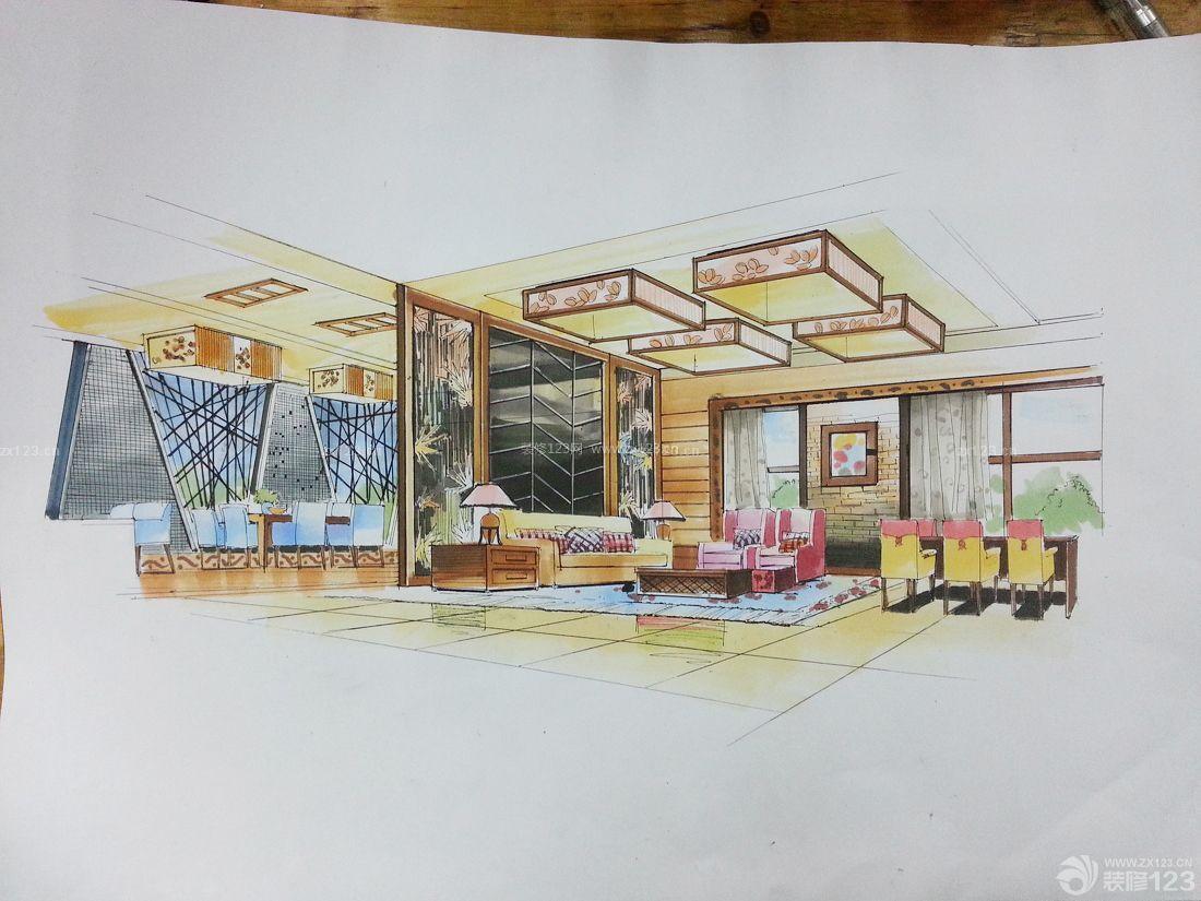 售楼处设计展厅手绘效果图片