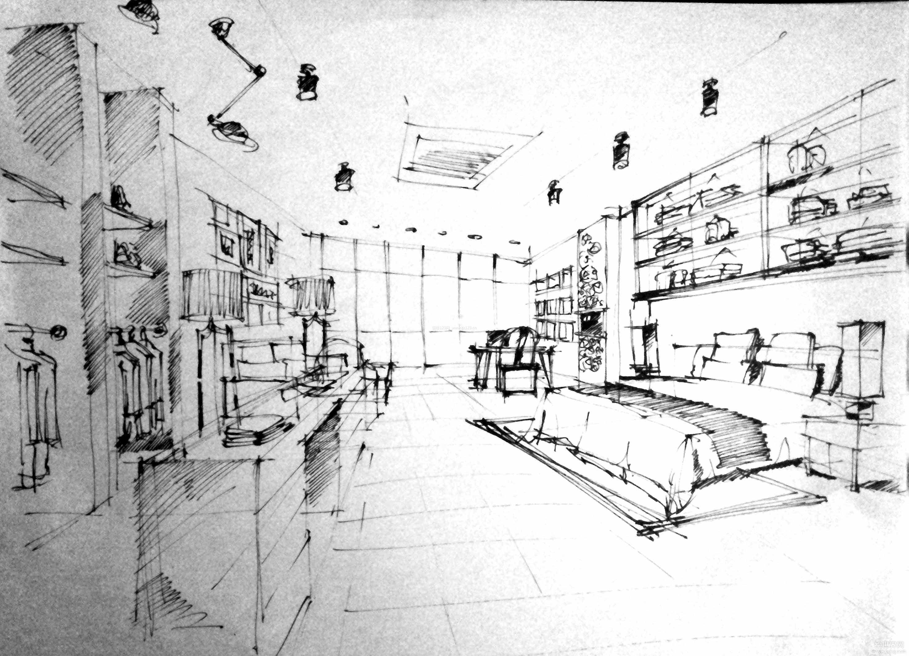 创意组合家具展厅手绘效果图片