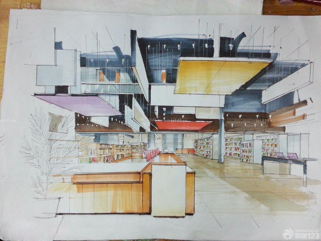 图书馆书架展厅手绘效果图片