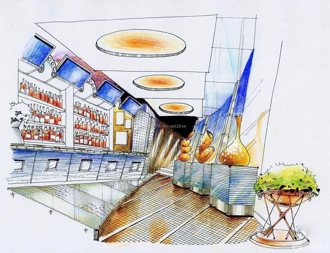 洋酒展厅手绘效果图片