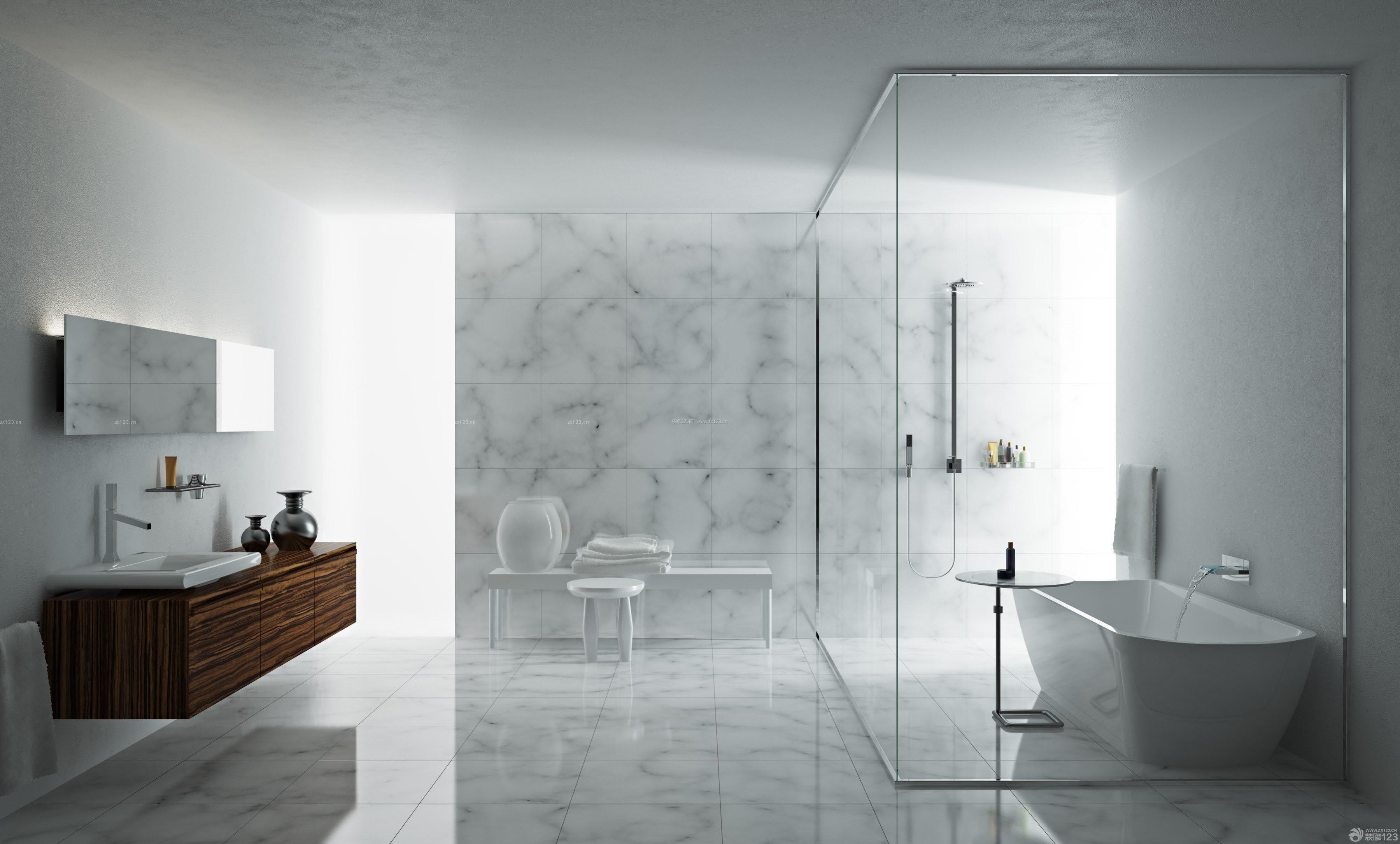 卫生间玻璃隔断墙白色花纹瓷砖墙面装修效果图