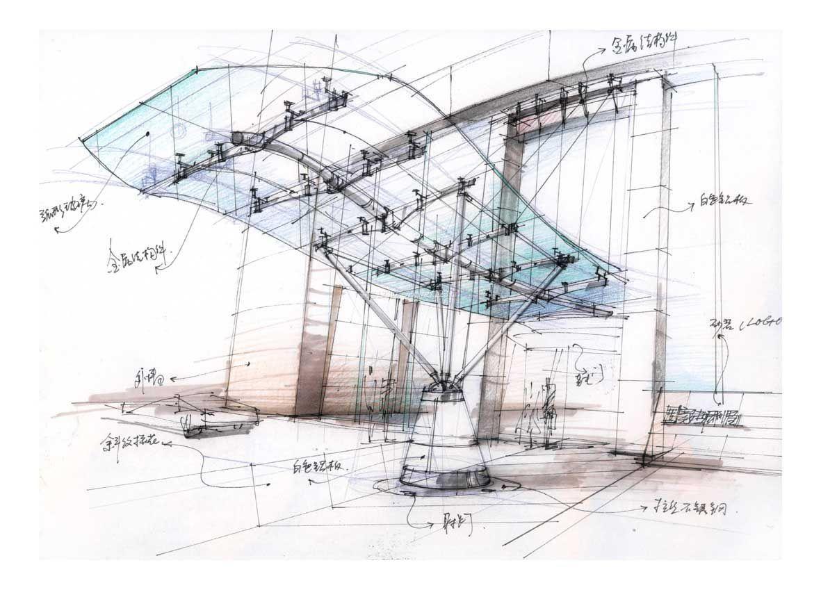 企业展厅手绘效果图