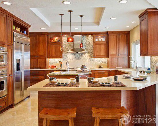 东南亚风格厨房木纹仿古瓷砖效果图欣赏