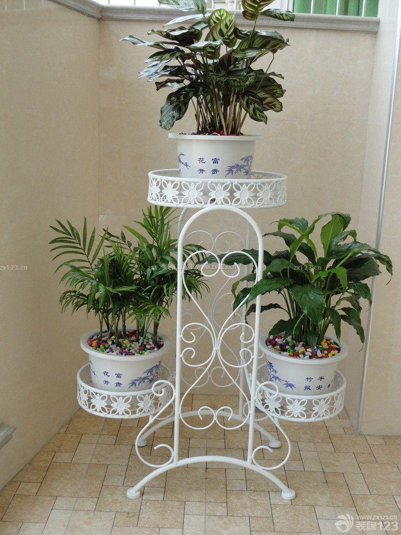 室内铁艺白色花架设计图