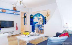 地中海小客廳藍色門框裝飾圖片