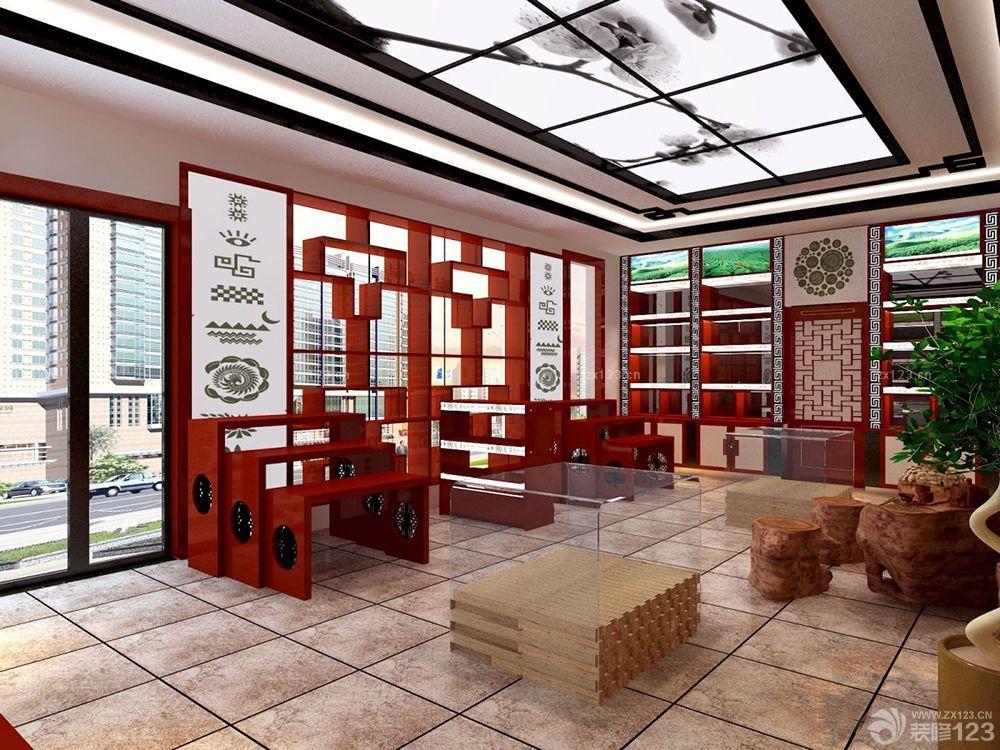 茶叶店面艺术吊顶装修效果图欣赏