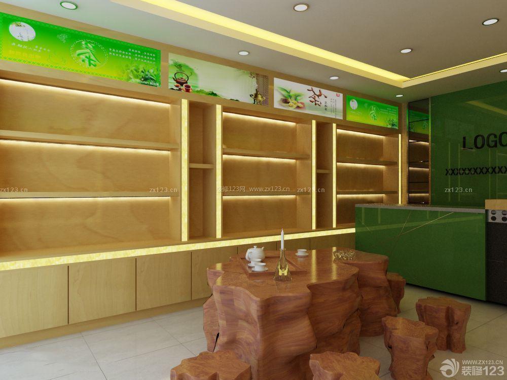 茶叶店面现代中式风格装修效果图图片