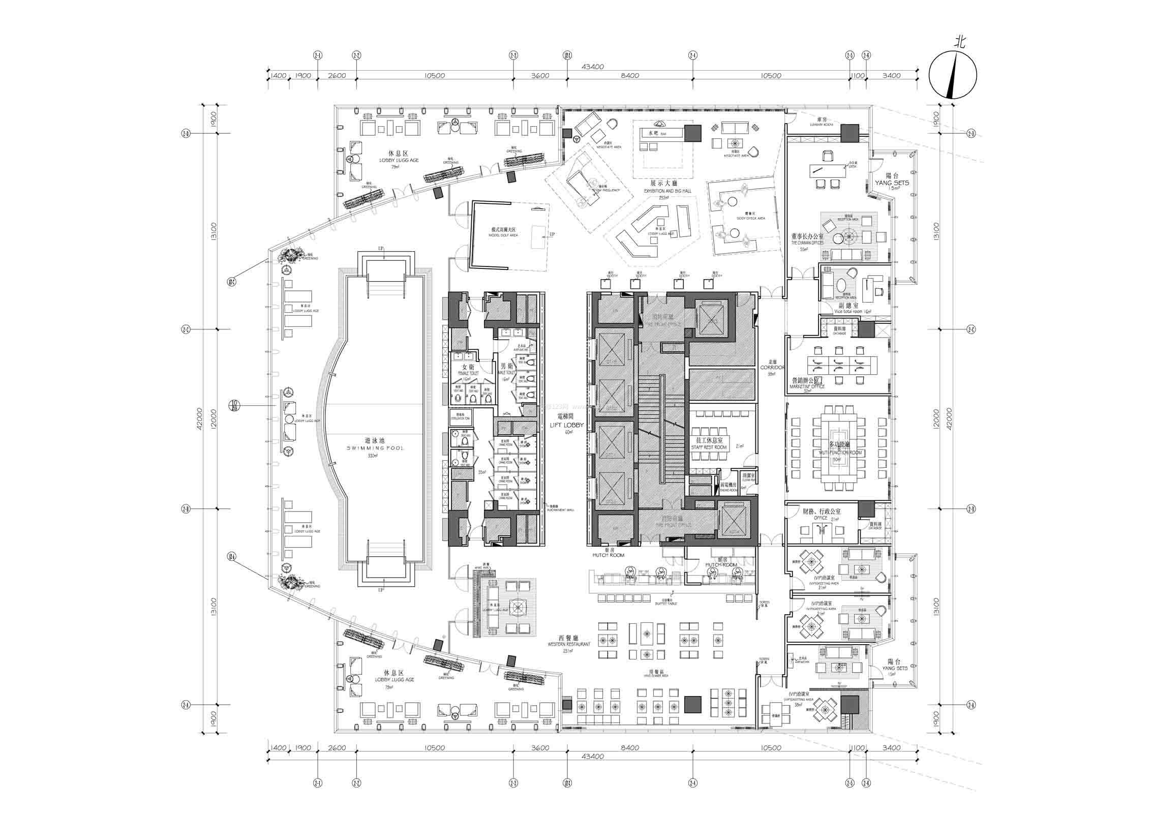 国外仿古会所平面设计图_装修123效果图
