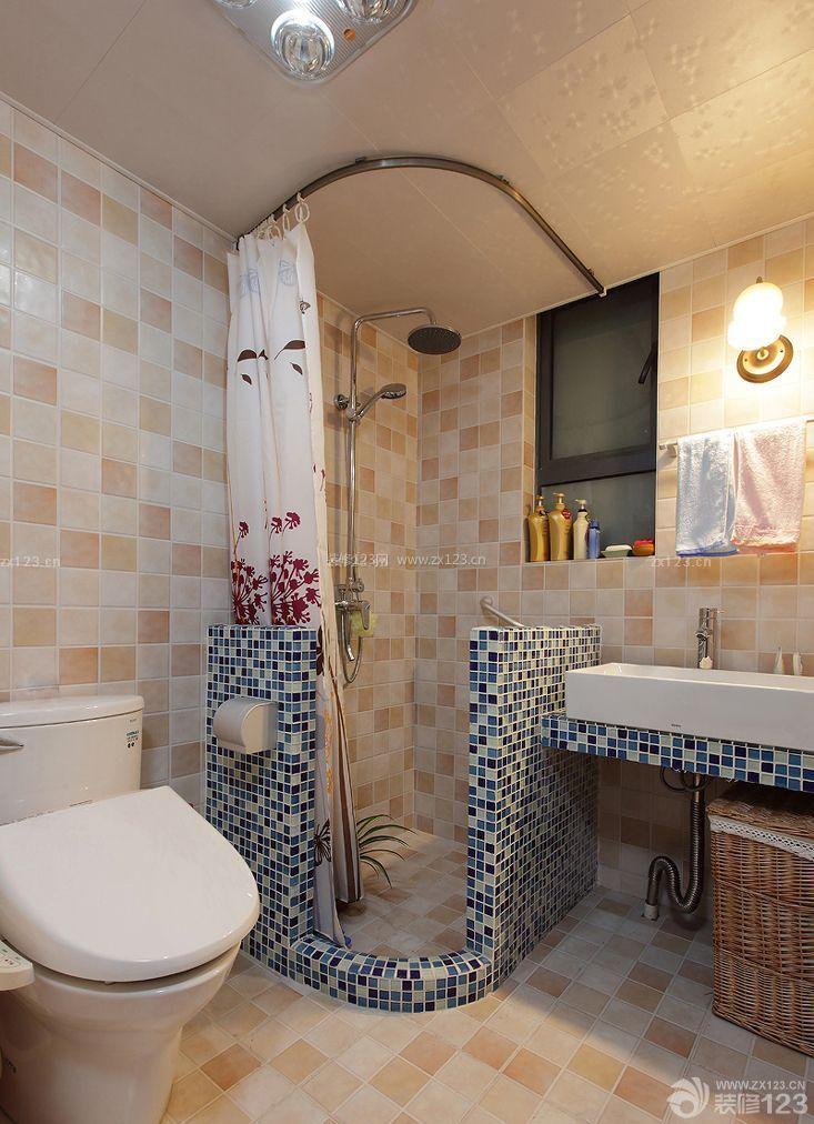 家装效果图 卫生间 卫生间马赛克隔断墙浴帘图片 提供者