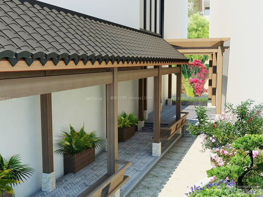 中式家装洋房入户花园装修效果图