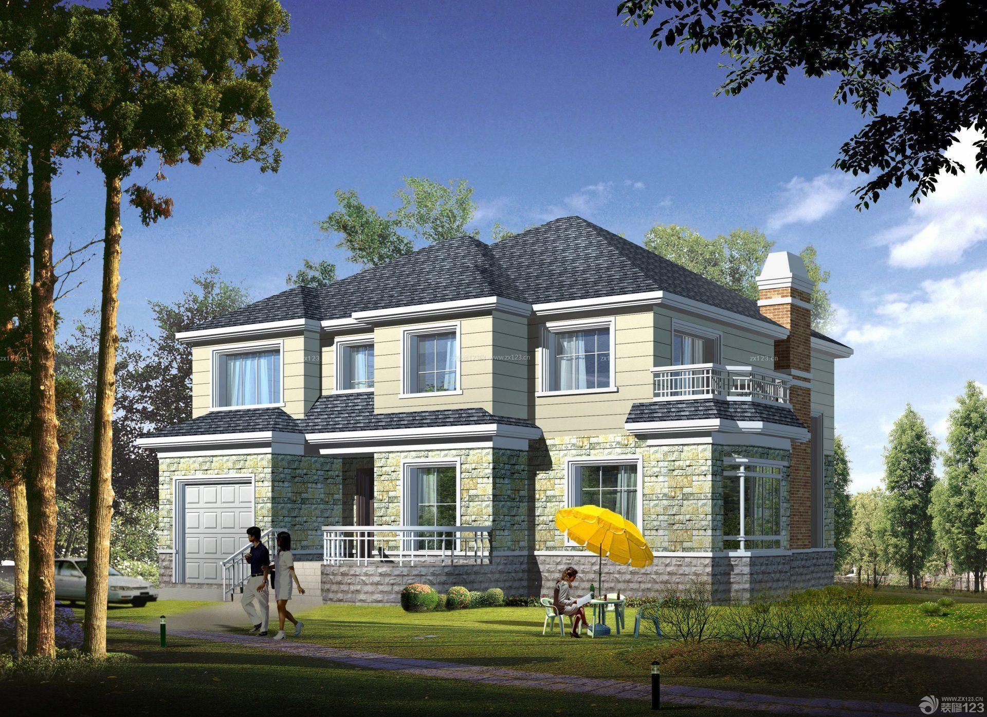 二层混搭风格南方农村房屋设计图图片