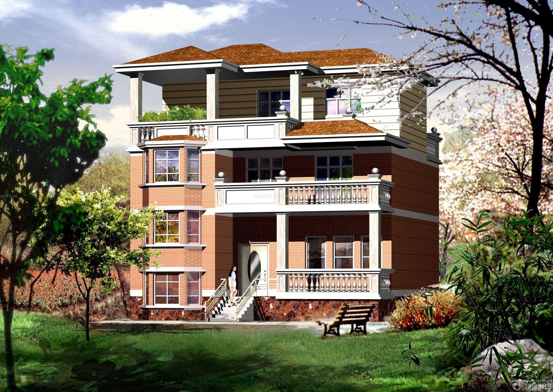三层混搭风格南方农村房屋设计图图片