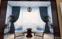 家庭陽臺休閑區純色窗簾裝飾圖