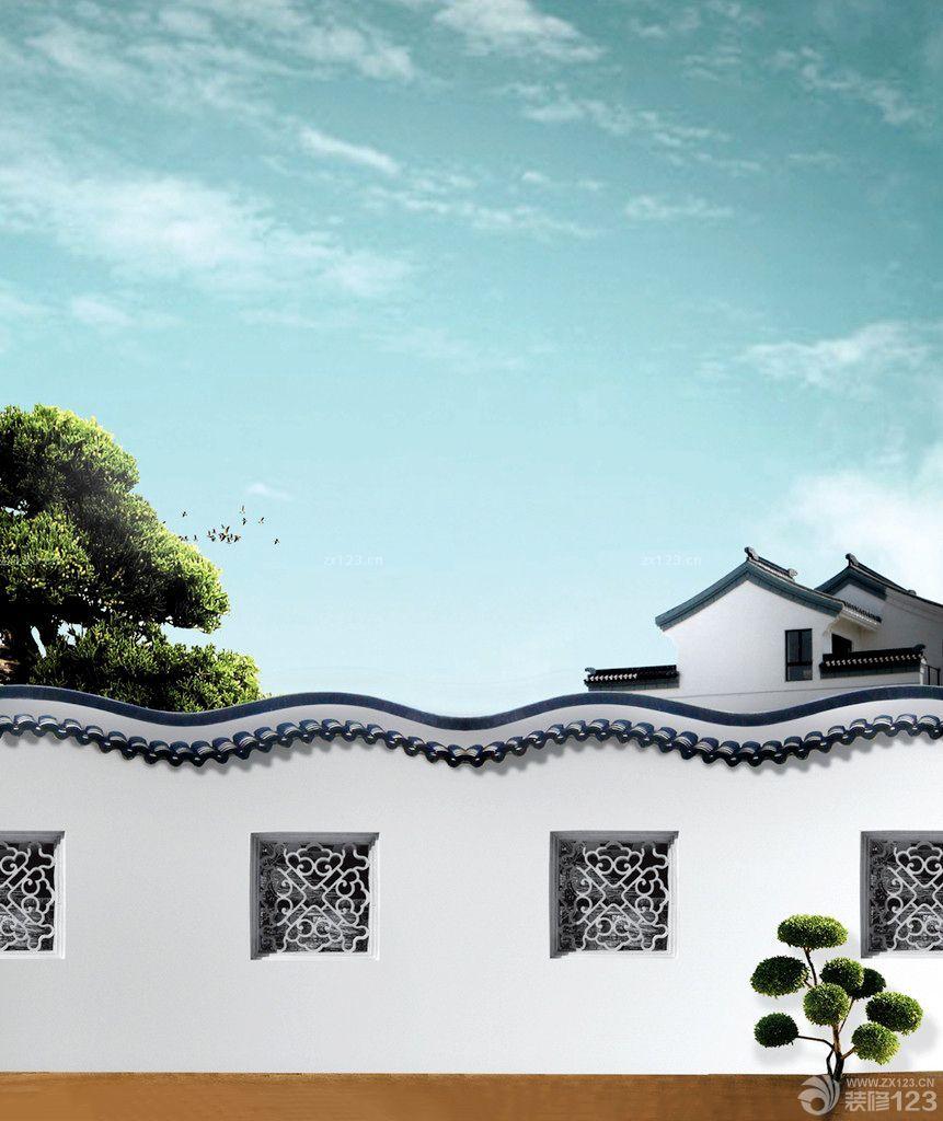 中式仿古庭院围墙设计图