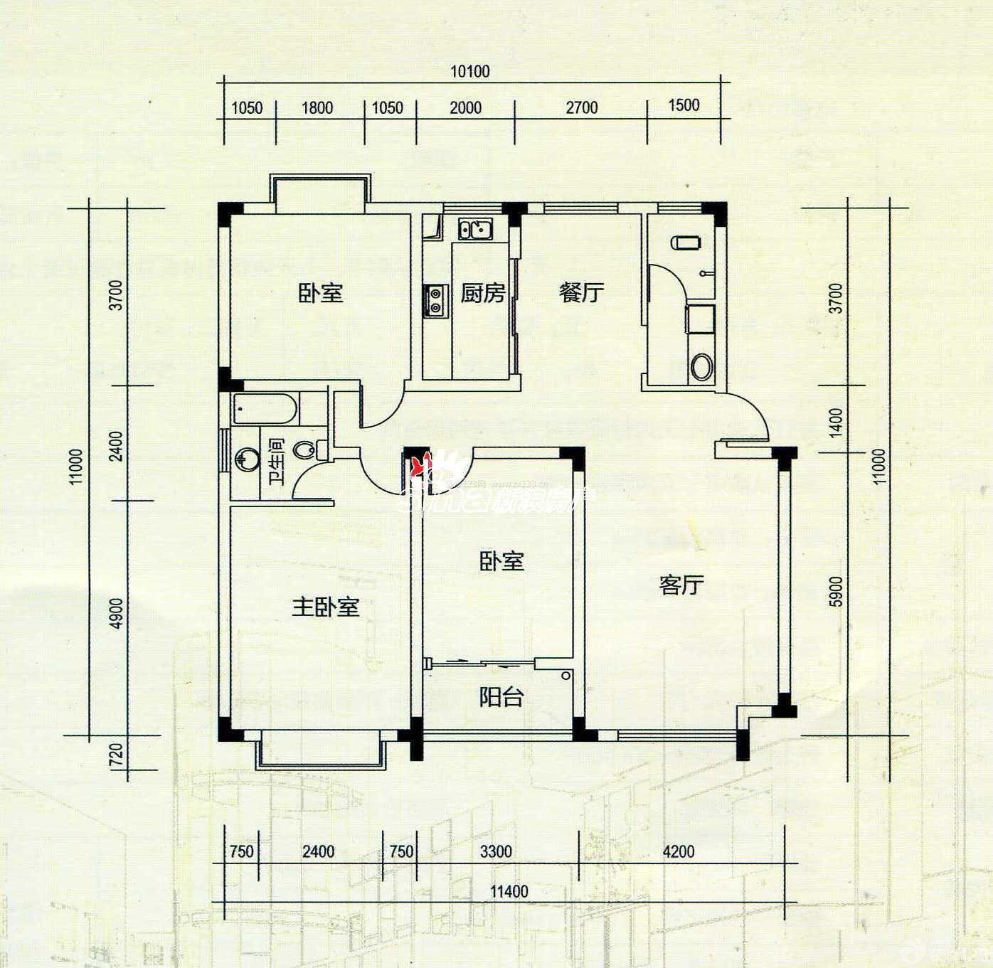 农村自建三室平房房屋设计图