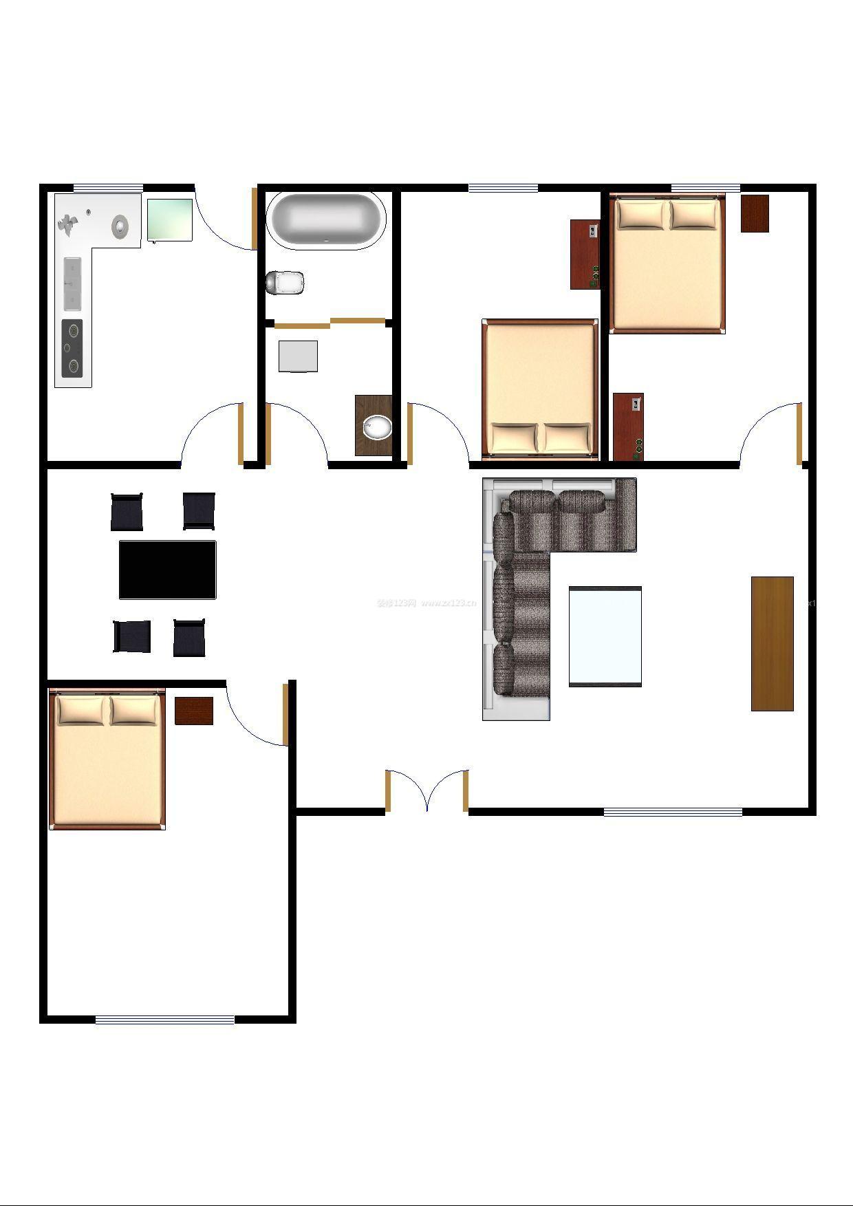 方形农村平房房屋设计图