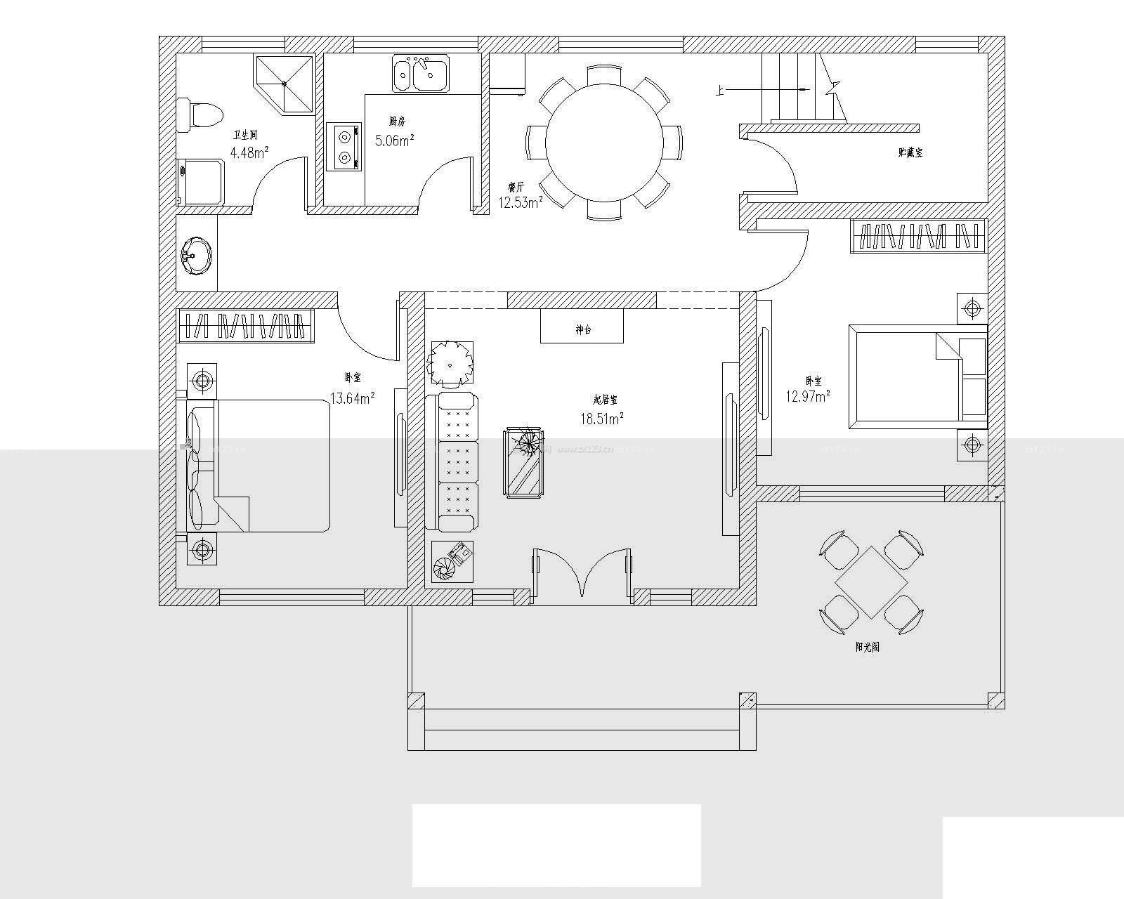 120平米农村平房房屋设计图_装修123效果图