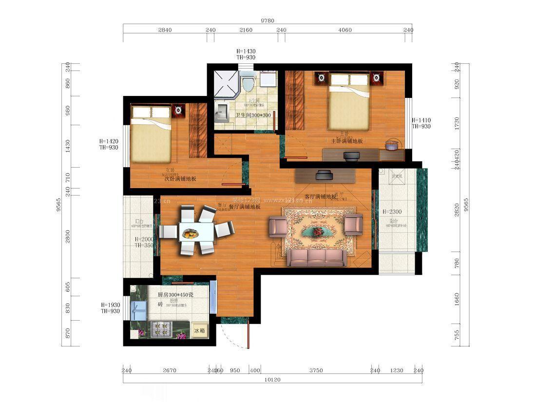 80平米小户型农村平房房屋设计图