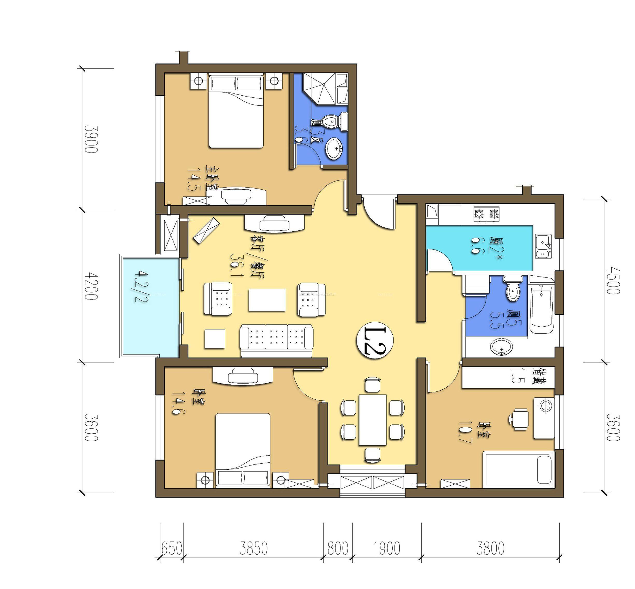 农村房屋3室1厅设计图图片展示_农村房屋3室1厅设计