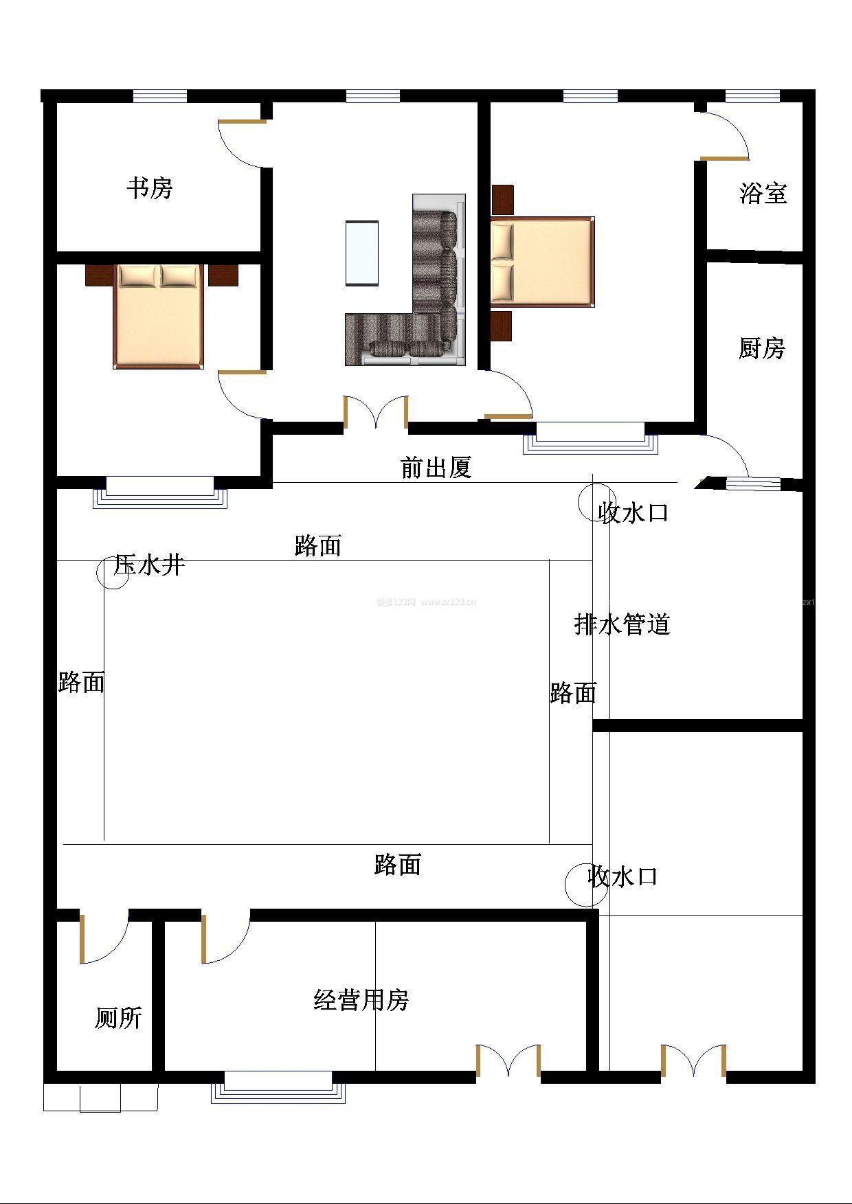 农村平房房屋庭院设计图图片