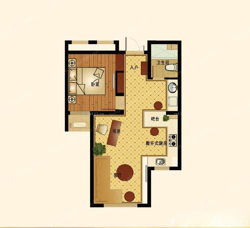 创意30平米小户型平面图酒店式公寓设计_装修123效果图