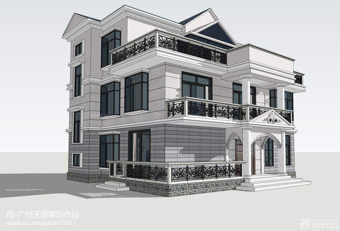 农村二层半别墅外观设计效果图