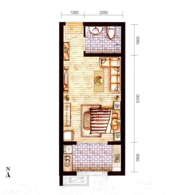 30平米小户型平面图长方形小户型设计