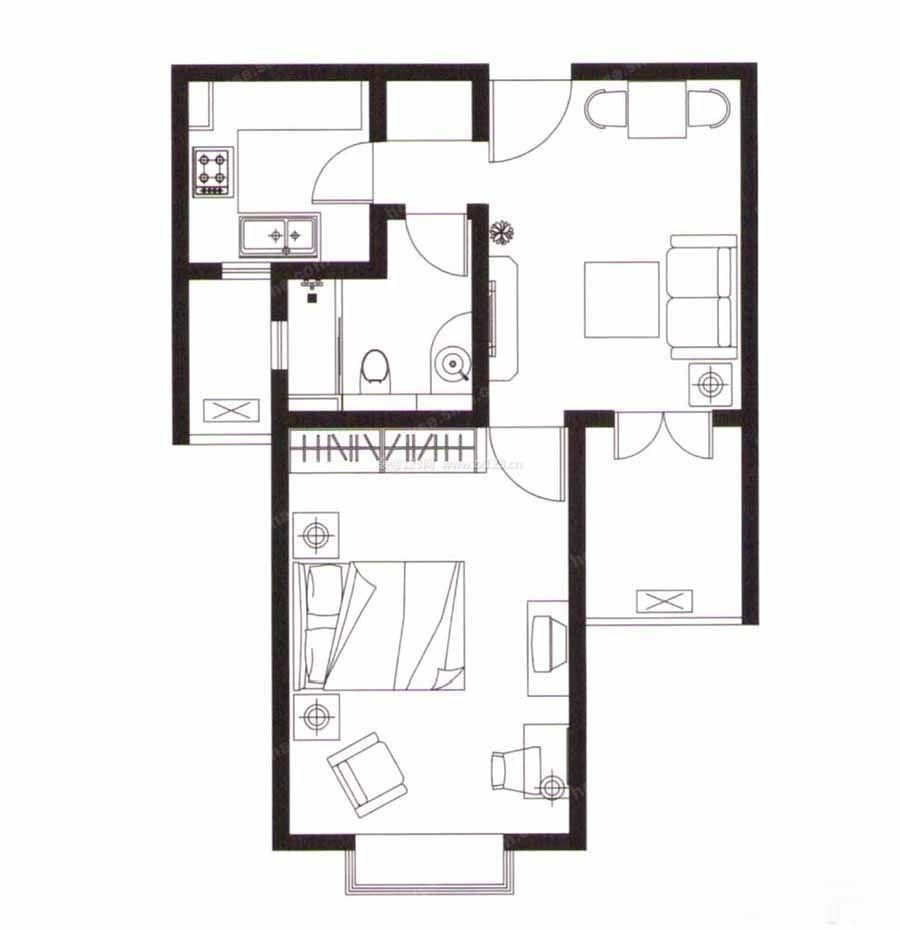小户型自建房56平方一室一厅户型图设计图片