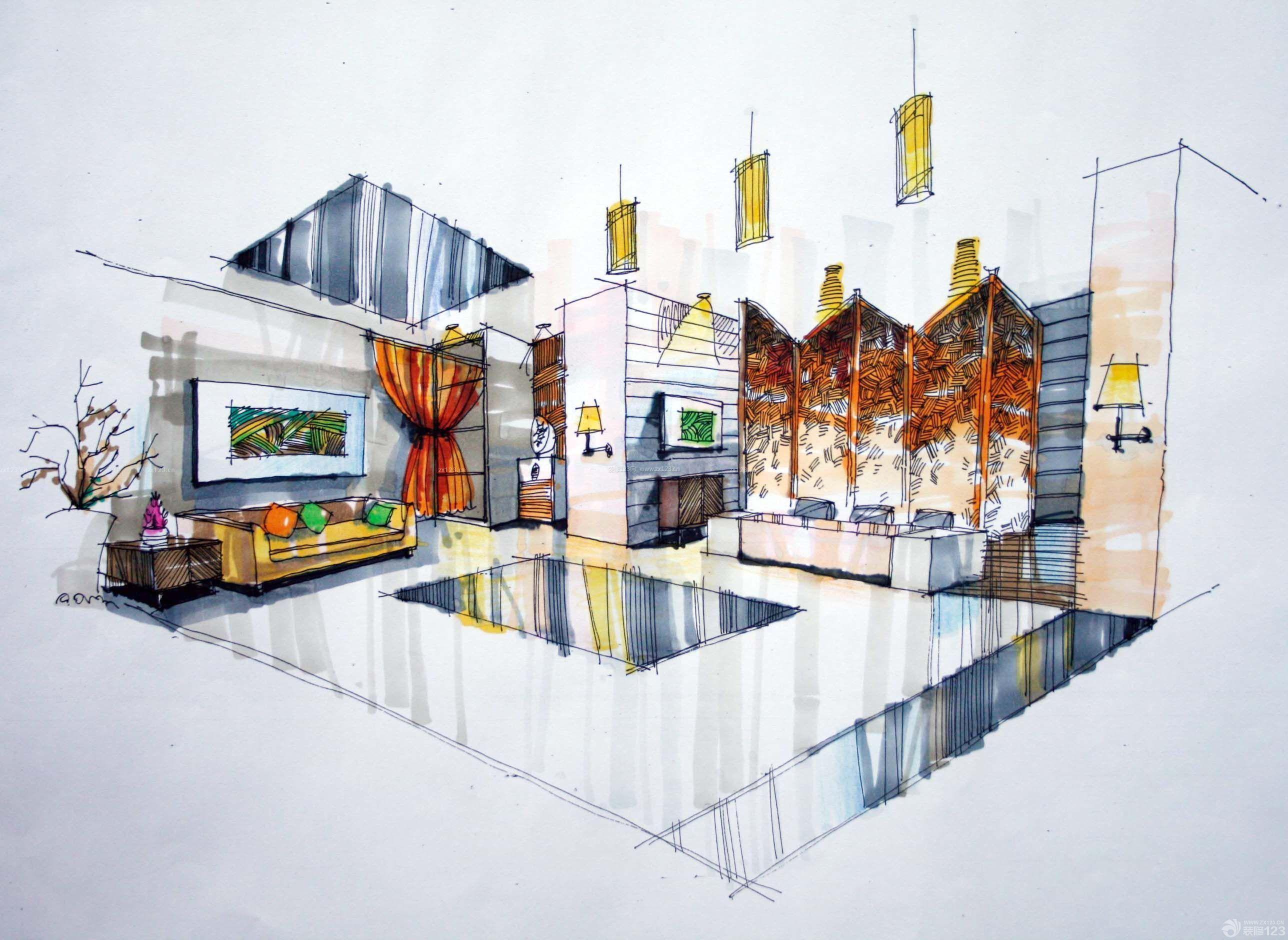 展示大厅设计手绘效果图